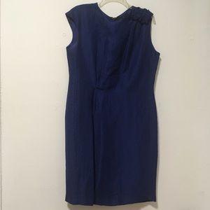 Carolina Herrera Blue Textured Linen Silk Dress 12
